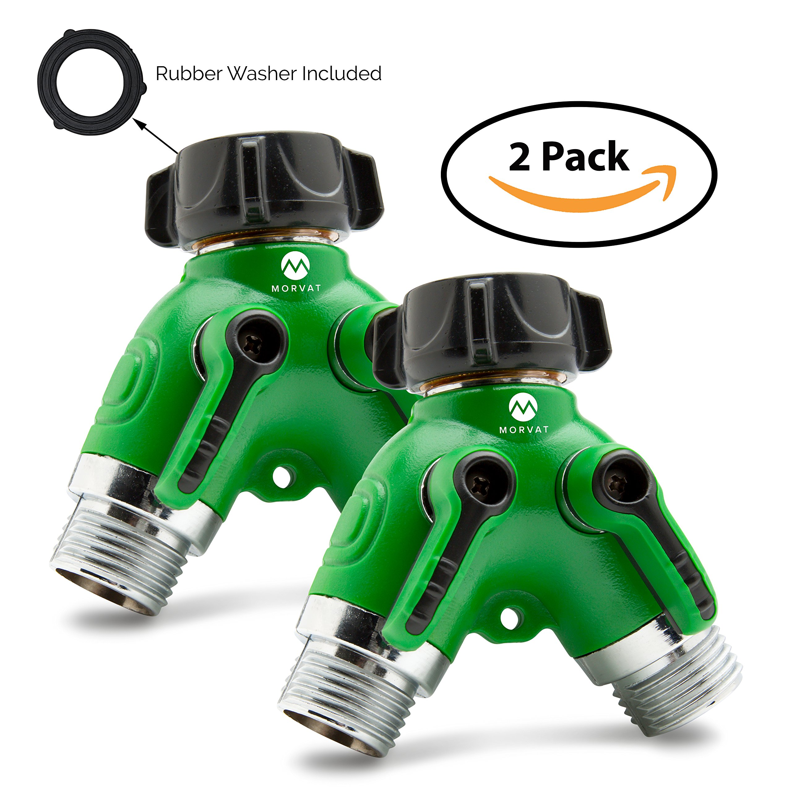 Morvat Heavy Duty Metal Garden Hose Connector Splitter with Rubber Grip Coating (2 Way Y Connector) | Water Hose Diverter, Adapter | Includes 4 Rubber Washers | Pack of 2