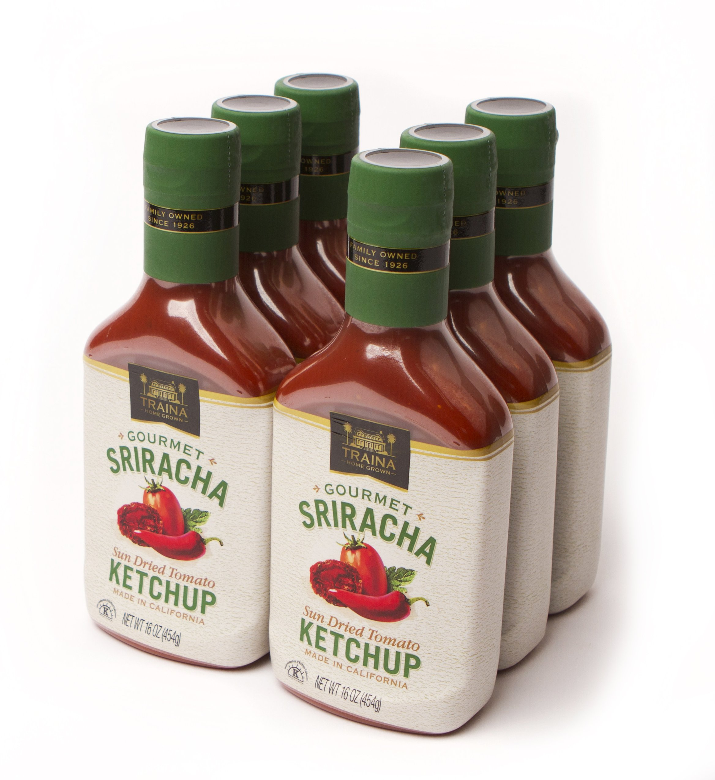 Traina Home Grown Sriracha Sun Dried Tomato Ketchup - Case of six 16 oz bottles