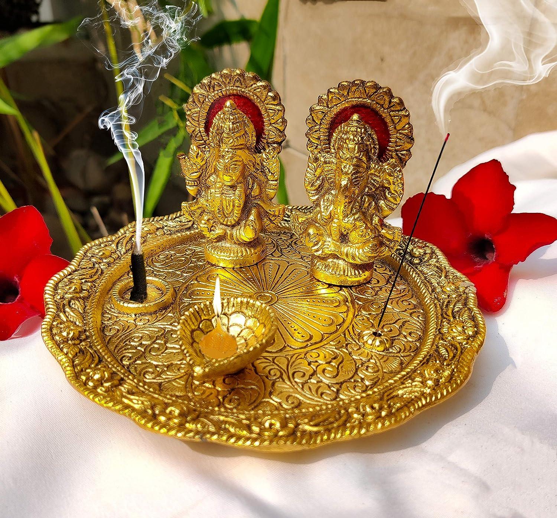 Aluminium Golden Color Plated Laxmi Ganesha Idol with Platter Plate for Puja Diwali Gift Items Deepawali Decorations Indian Dhanteras Pooja Statue Thali