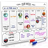 "HomeN'Stars Dry Erase Weekly Calendar / Weekly Whiteboard Calendar / Magnetic Weekly Calendar for Refrigerator 16"" x 12"" (40.6 x30.5 cm) Bonus 10 Magnetic Icons and 2 Markers"