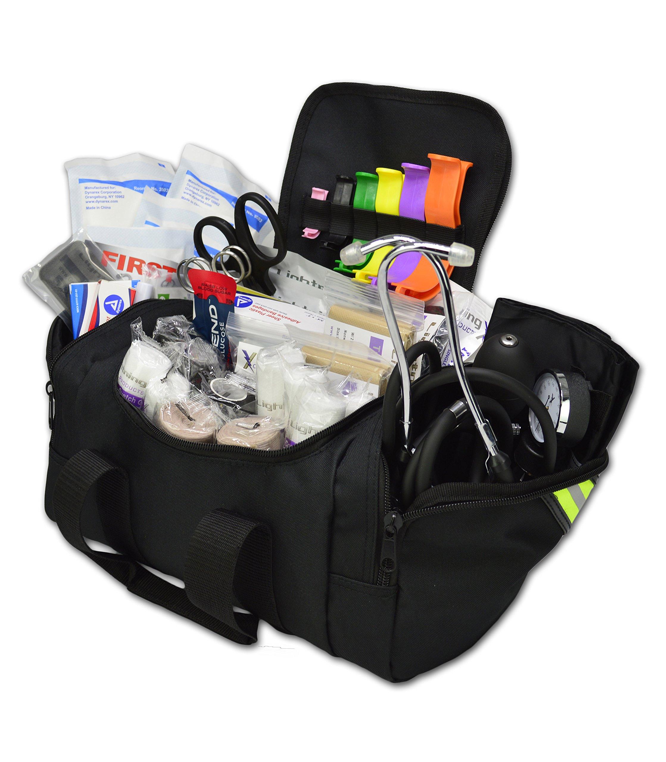 Lightning X Value Compact Medic First Responder EMS/EMT Stocked Trauma Bag w/Standard Fill Kit B - Black