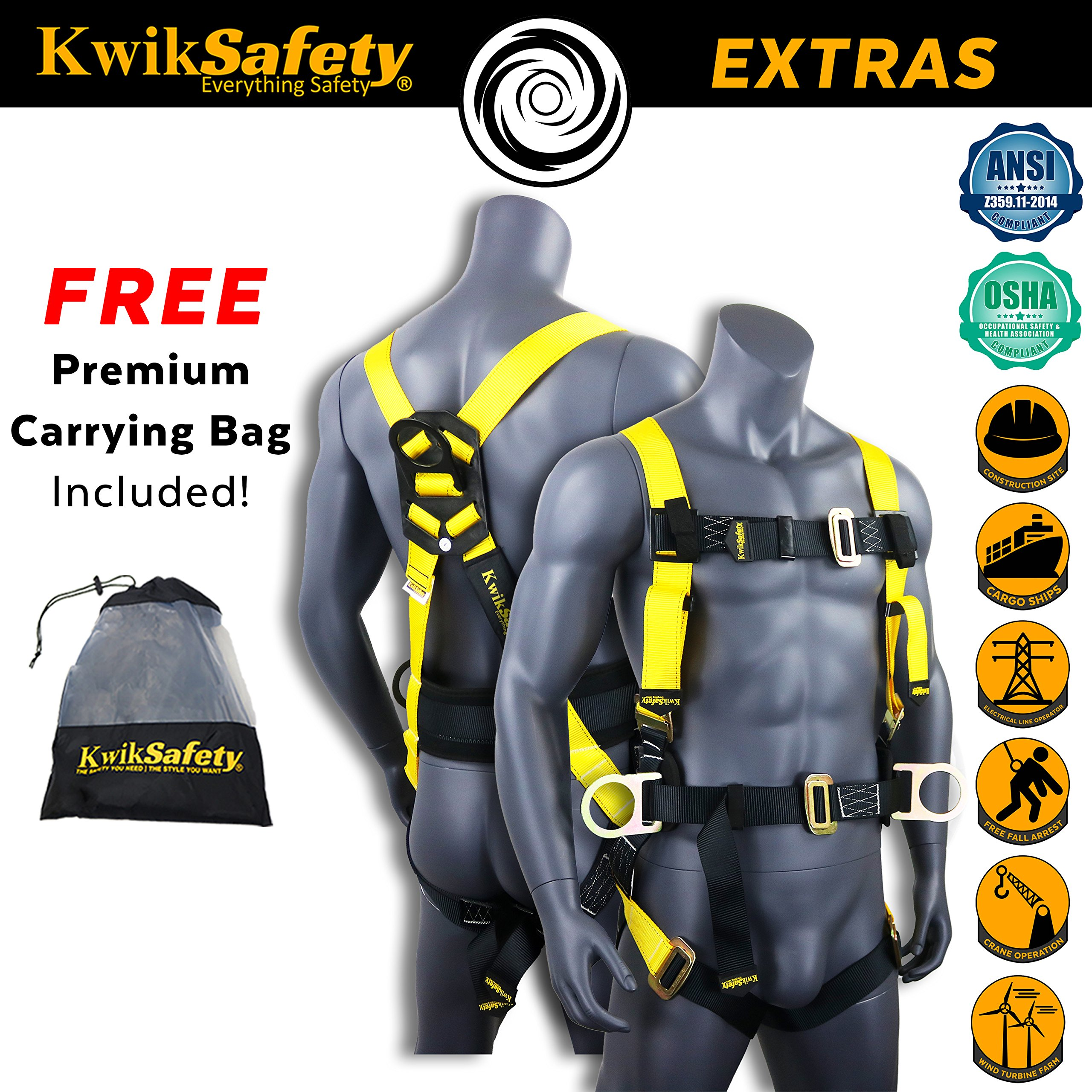 KwikSafety HURRICANE | OSHA ANSI Fall Protection Full Body Safety Harness w/Back Support | Personal Protective Equipment | Dorsal Ring Side D-Rings | Universal Construction Industrial Roofing Tool by KwikSafety (Image #4)