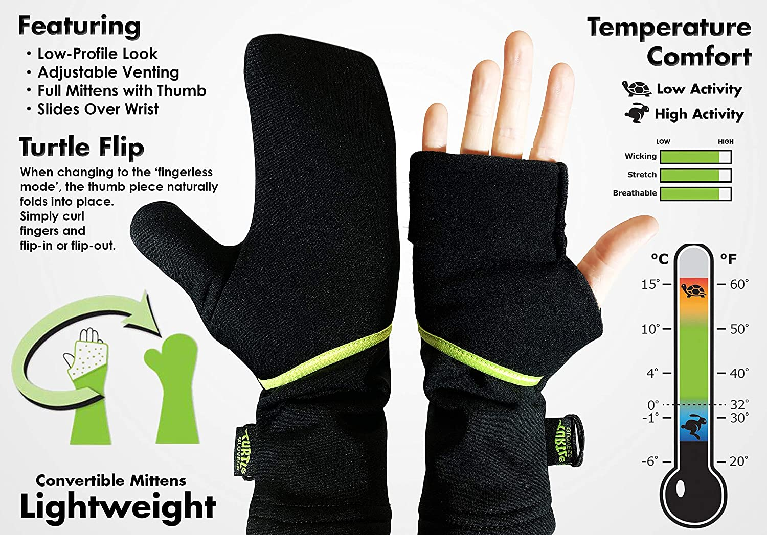 Turtle Gloves Lightweight Convertible Running Mittens for Spring//Fall