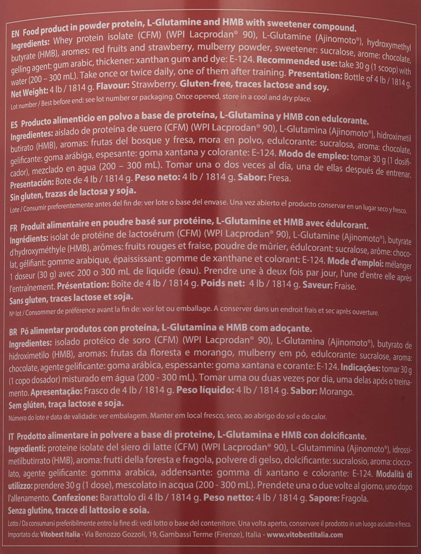 Vitobest Isolate Proteína, Sabor de Fresa - 1814 gr