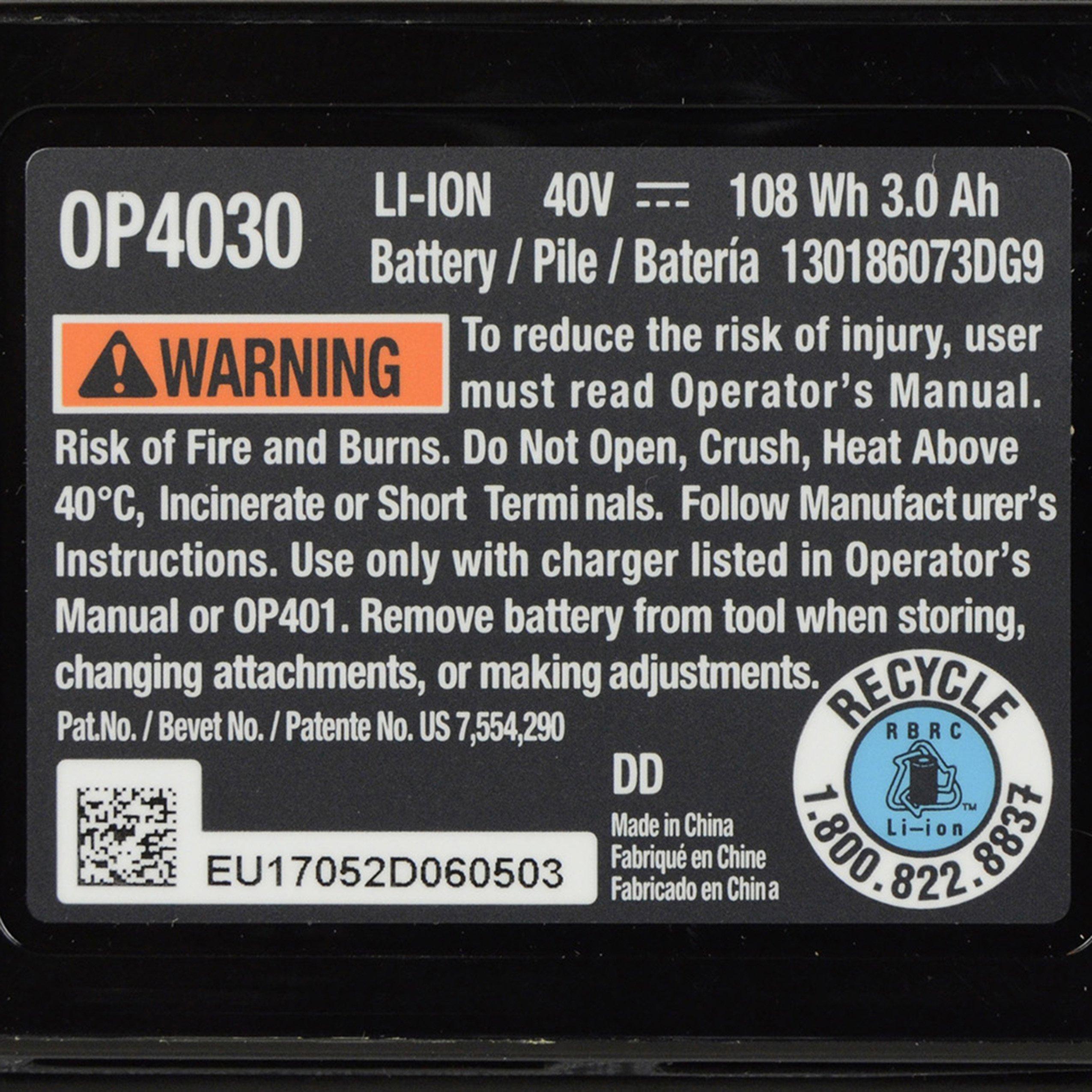 Ryobi OP4030 40V 3.0Ah Lithium ion Battery w/ Fuel Gauge by Ryobi (Image #5)