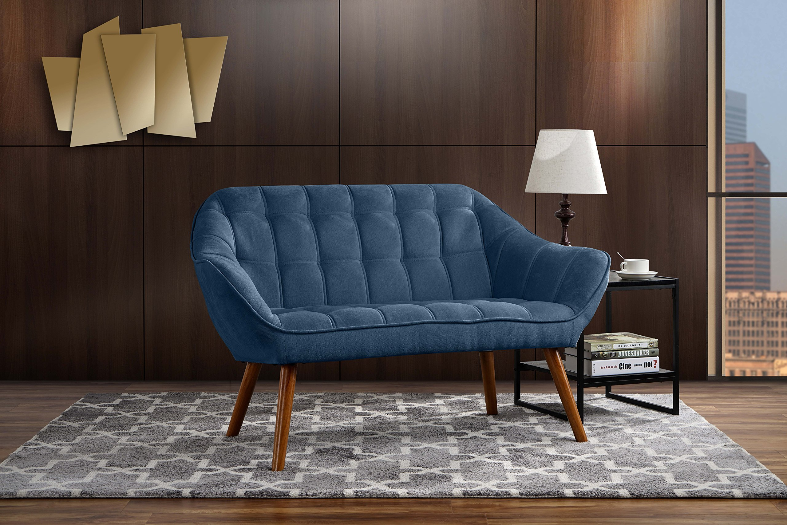 Couch for Living Room, Tufted Linen Fabric Love Seat (Blue) - Divano Roma Furniture's upholstered love seat with armrests comes in soft and bright color variances Features hand picked soft linen fabric upholstery with 4 mid-century style wooden legs Firmly padded cushions that use high density memory foam for added comfort - sofas-couches, living-room-furniture, living-room - 91VqXwIzyrL -
