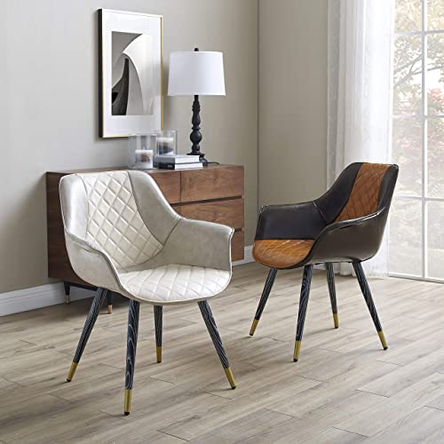 Volans Modern Mid-Century Comfy Leather Upholstered Cute Writing Desk Chair