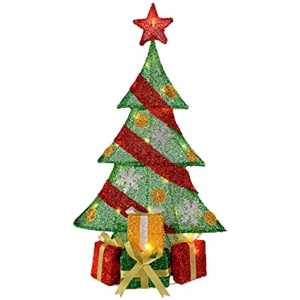 werchristmas christmas tree and gifts silhouette with warm white led lights and tinsel 74 cm