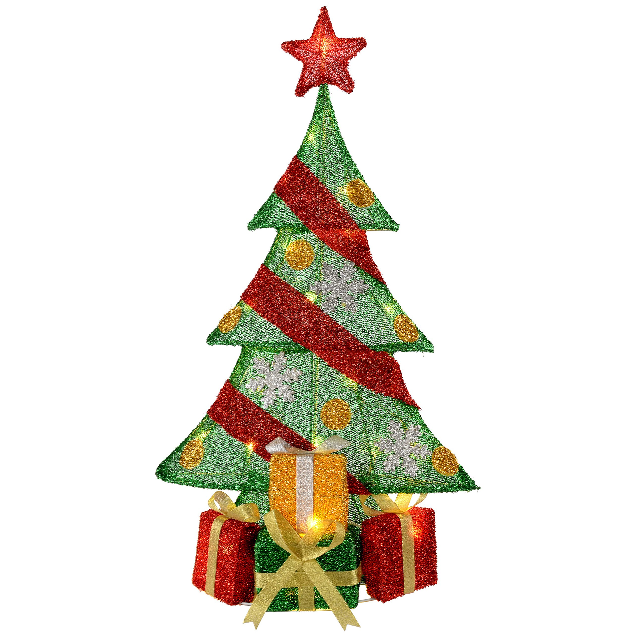 WeRChristmas Christmas Tree And Gifts Silhouette With Warm White Led Lights And Tinsel, 74 Cm - Large