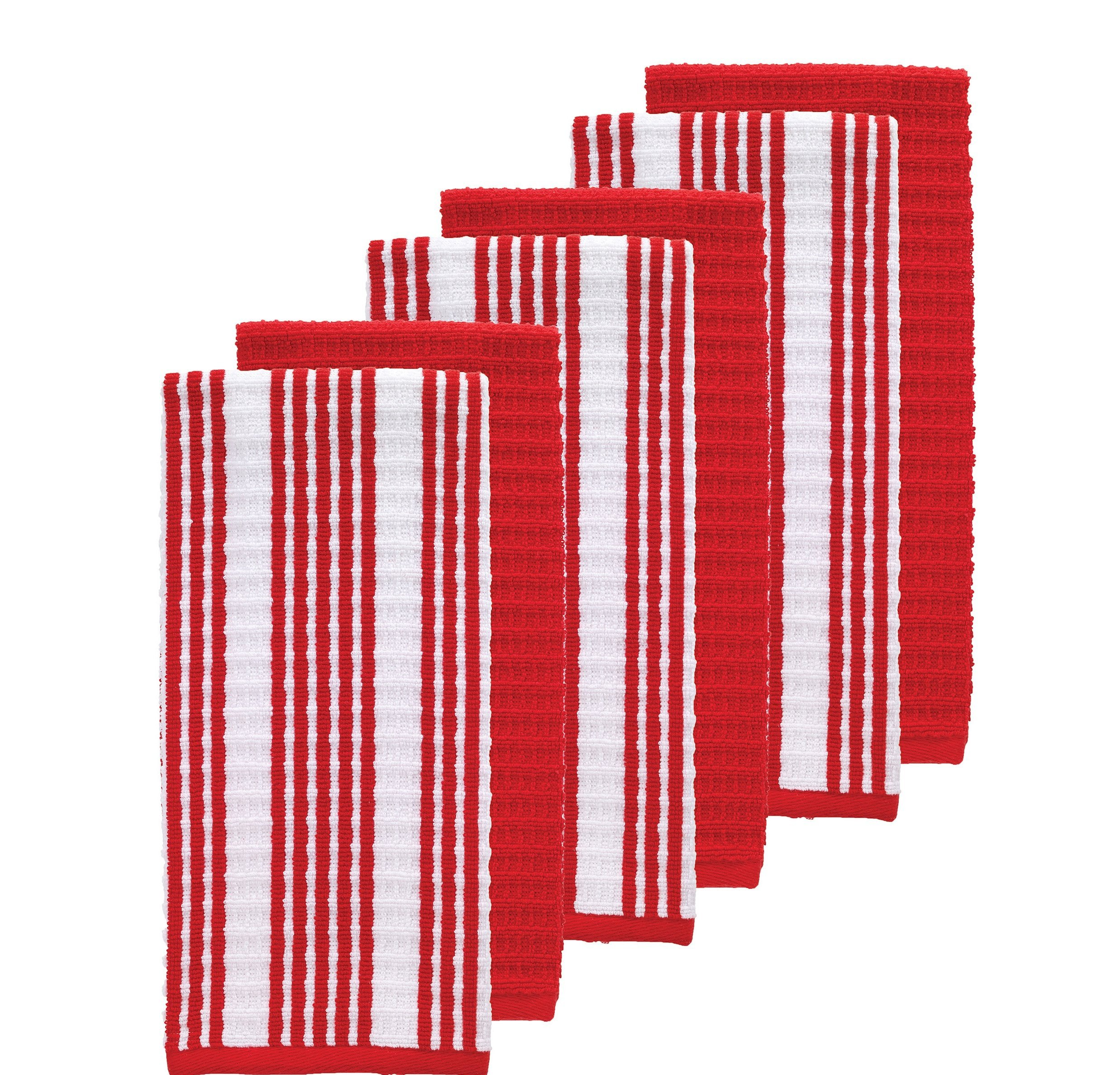 Set Of 6 Oversized Red Striped Theme Kitchen Dish Towel Set, Sleek Trendy Classic Solid Color Linen Pattern Cloths Highly Absorbent Soft Plush Vibrant Vertical Stripes Classic, Cotton Terry by N2