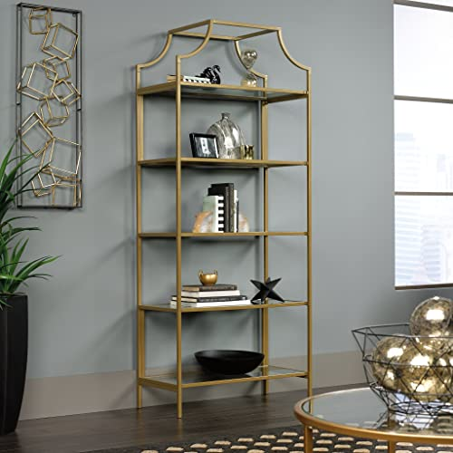 Sauder 421434 International Lux Bookcase, Satin Gold Finish