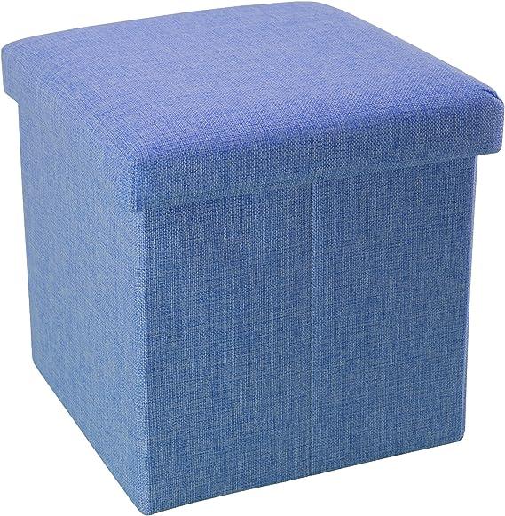 Intirilife Puff Baúl Plegable 30x30x30 cm in Azul MAR – Taburete ...