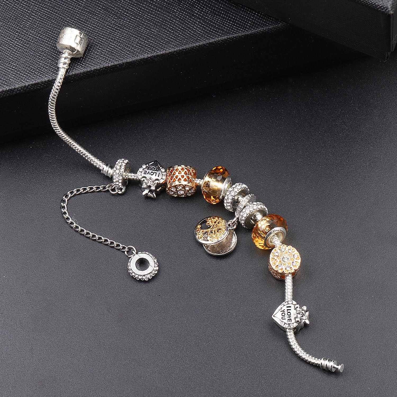 A TE/® Bracciale Charms Albero Della Vita Beads Cristalli placcato in oro Regalo Famiglia JWB78