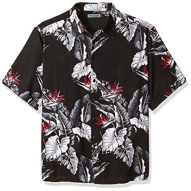 aa3dce5cc4 Cubavera Men s Short Sleeve All Over Tropical Print Woven Shirt at ...