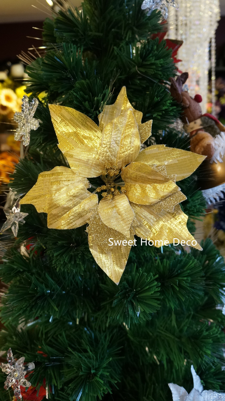 silk flower arrangements sweet home deco 10'' silk poinsettias artificial flower heads christmas holiday decorations (5 flower heads) (gold 2)