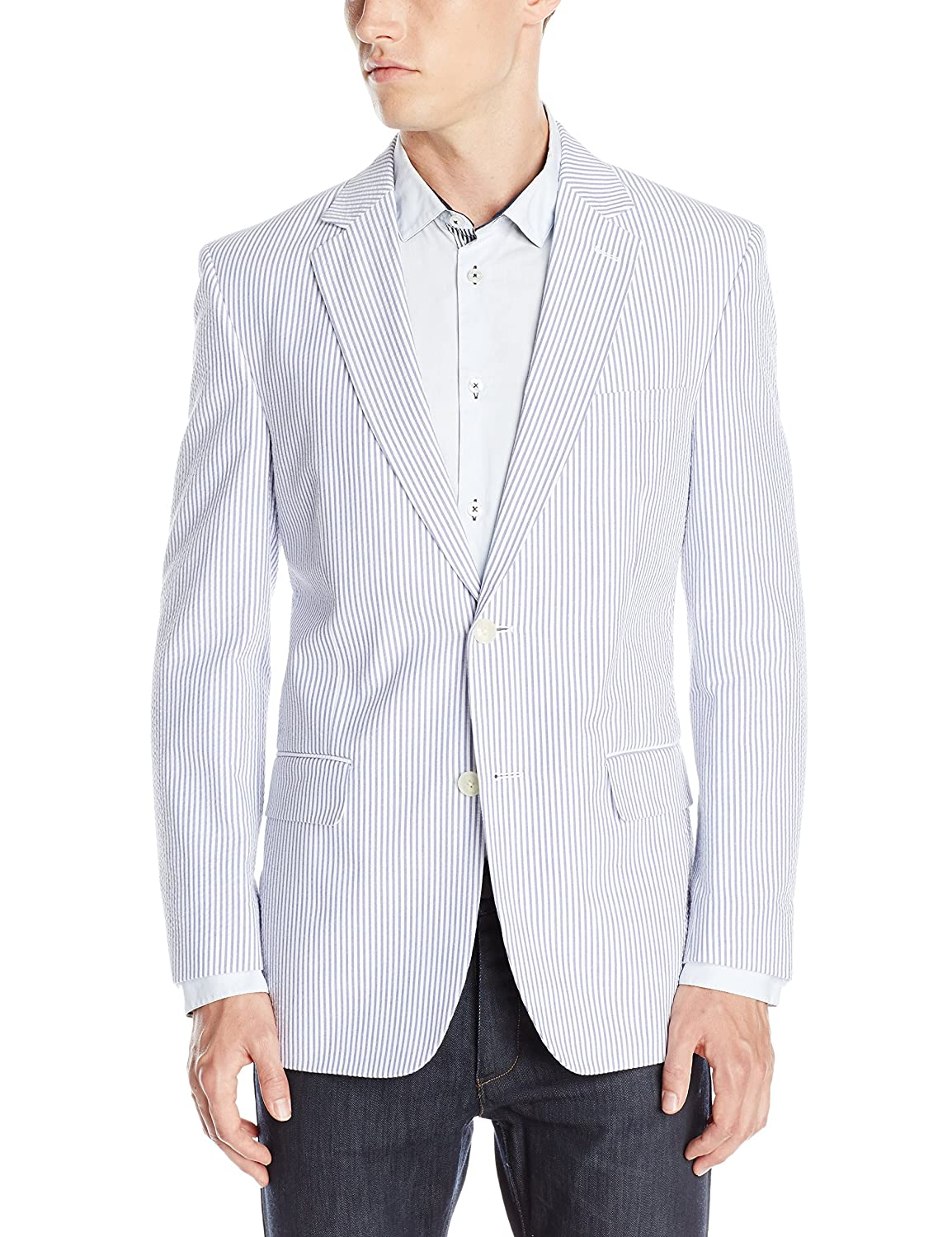 Palm Beach Men's Brock Navy-Seersucker Suit Separate Jacket Palm Beach Men's Tailored