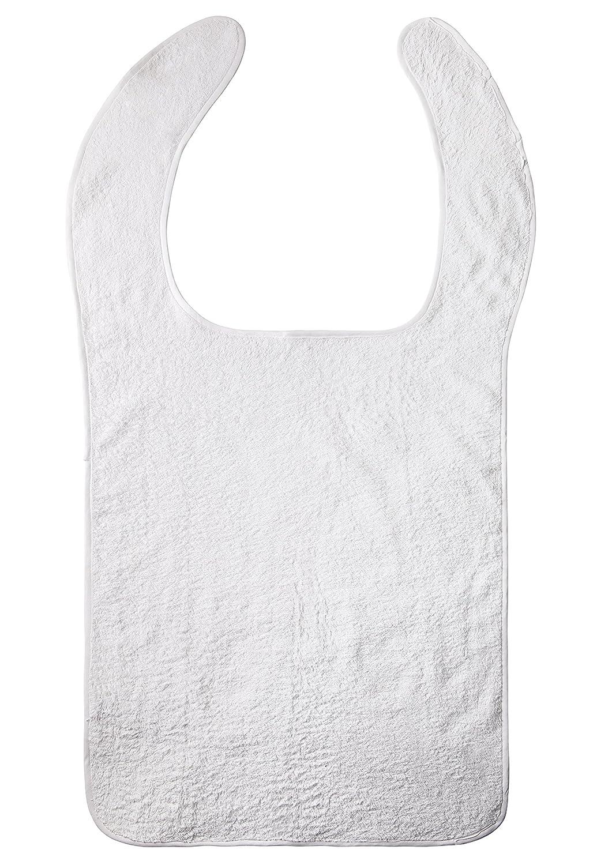 Protezione vestimento, Bavaglino adulto., cibo materasso., in spugna bianco Prezzi offerte