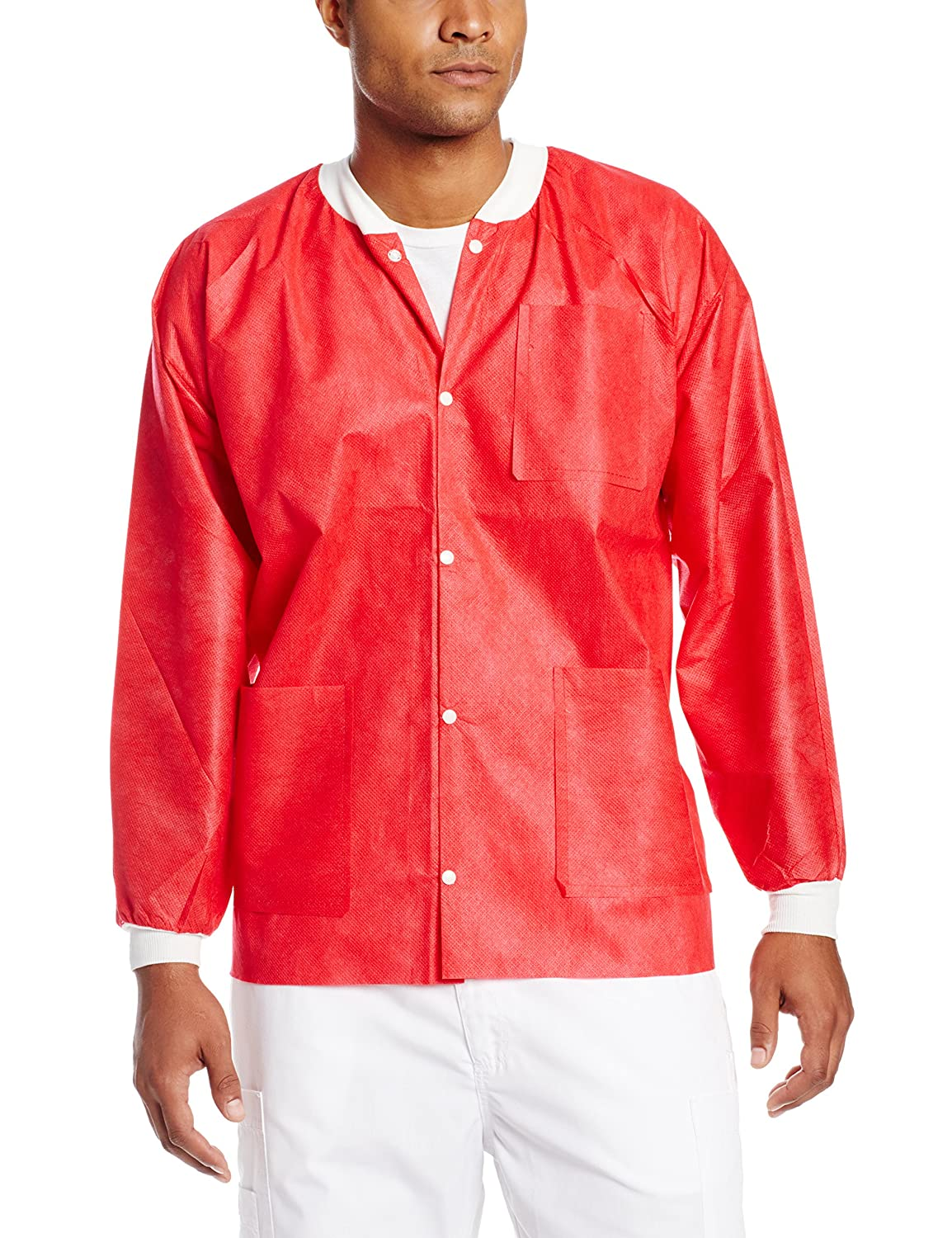 Pack of 10 Noble Looking Disposable SMS Hip Length Jacket ValuMax 3630RDL Extra-Safe L Wrinkle-Free Red