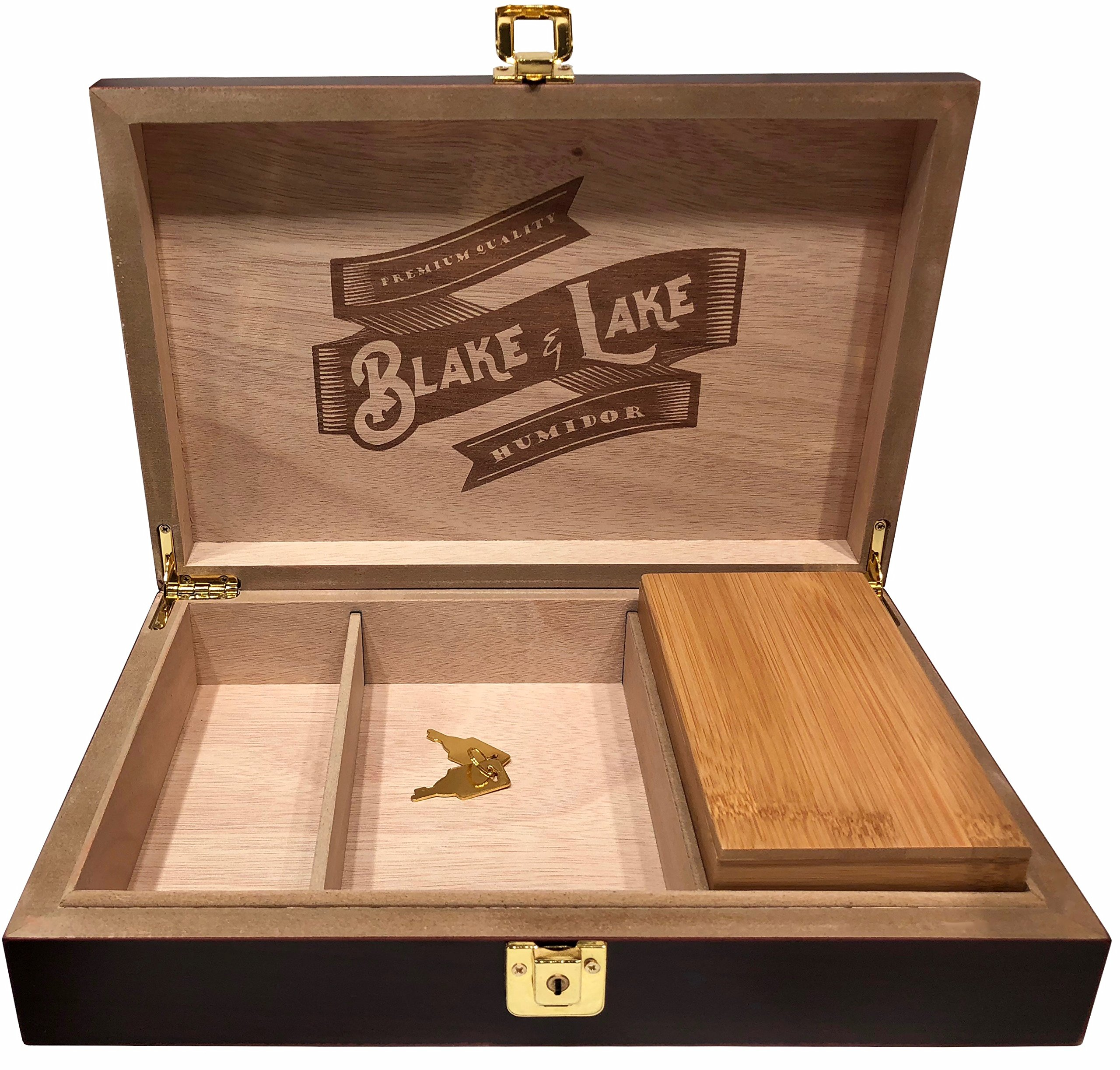 Blake & Lake Wood Stash Box with Lock - Wood Lock Box with Rolling Tray - Box with Lock and key - Dark Brown Discrete Wooden Boxes