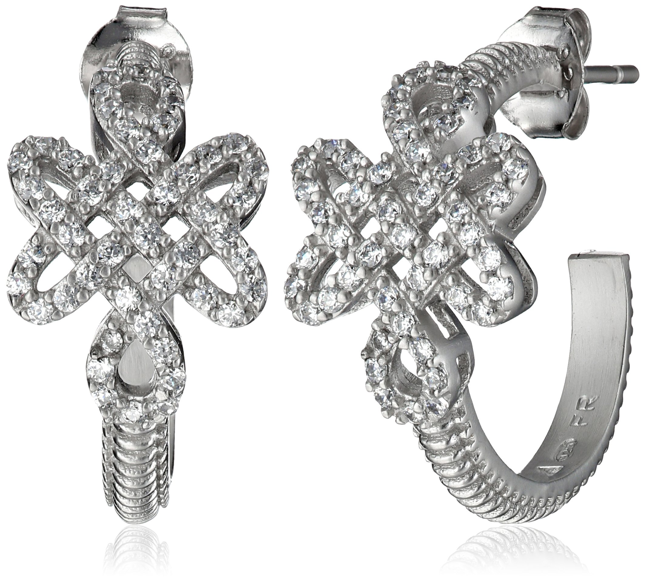 Freida Rothman ''Gramercy'' Sterling Silver and Cubic Zirconia Love Knot Hoop Earrings