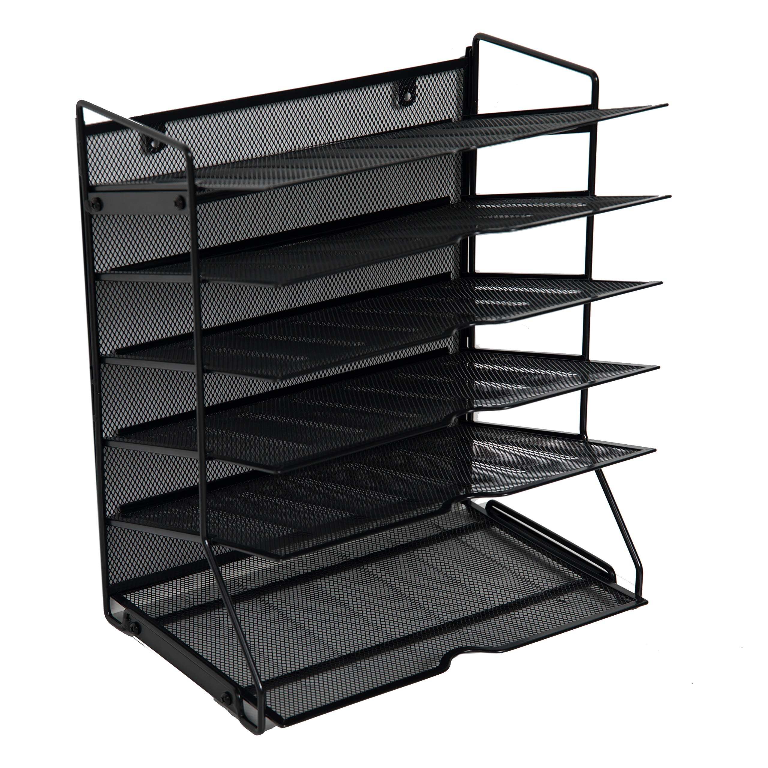 Klickpick Office 6 Sections Hanging Files Wall Mounted Metal Mesh Document File Organizer Magazine Holder Rack Desk Organizer Racks to Display Files, Magazine, Newspapers- Black