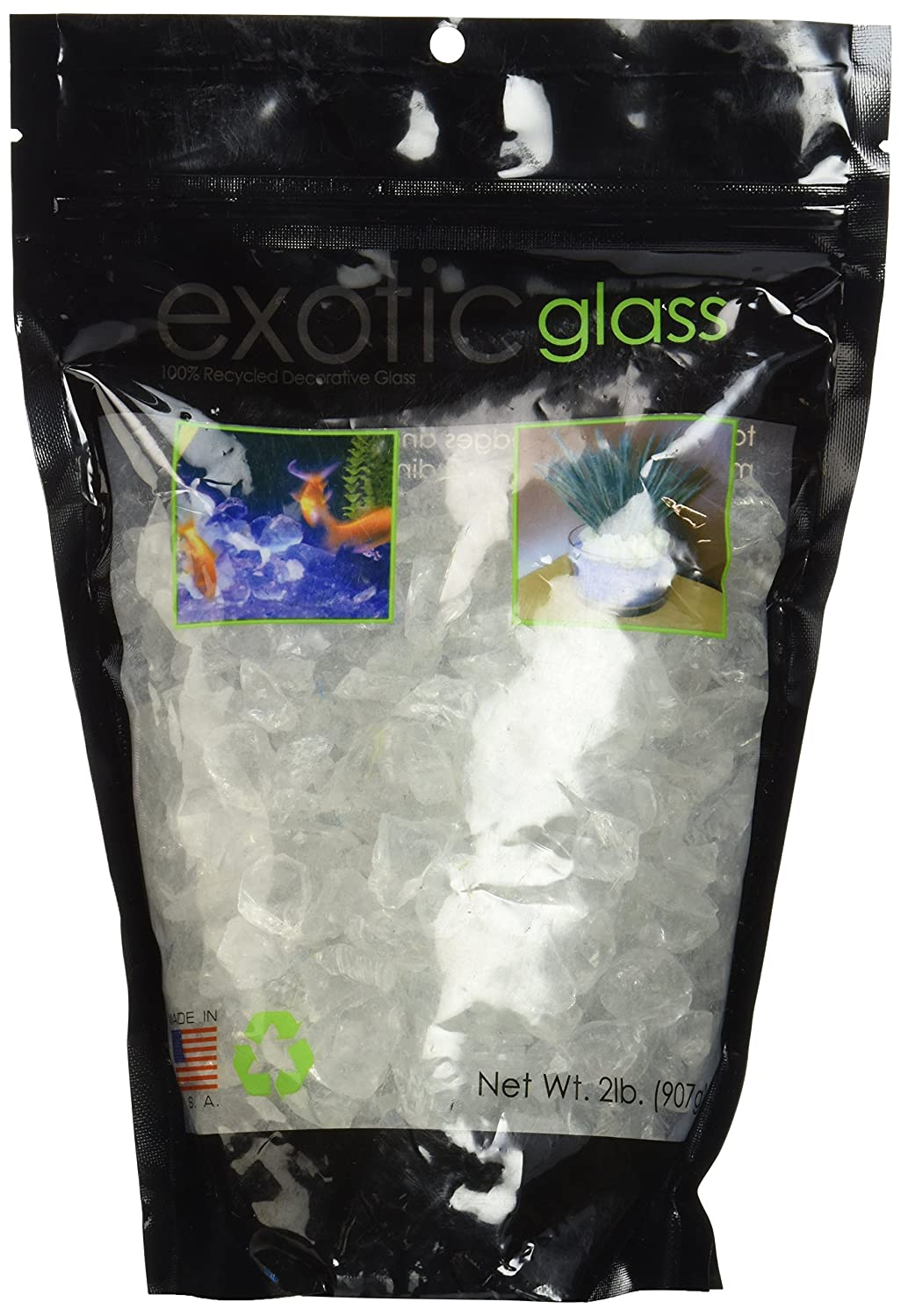 Exotic Pebbles and Aggregates 2-Number Bag, Small, Ice Clear Glass EG02L01S-B