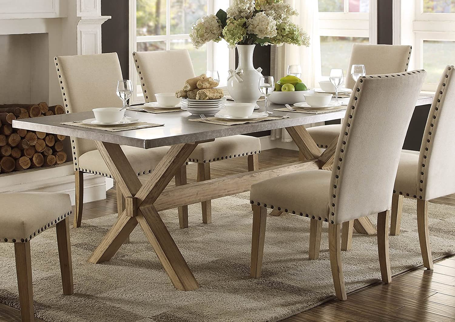 Charming Amazon.com   Modern Zinc Top Dining Room Furniture In Weathered Oak (Dining  Table)   Table U0026 Chair Sets