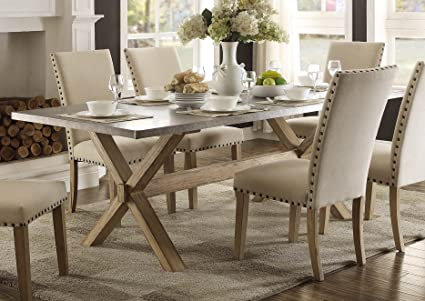 Modern Zinc Top Dining Room Furniture In Weathered Oak Table