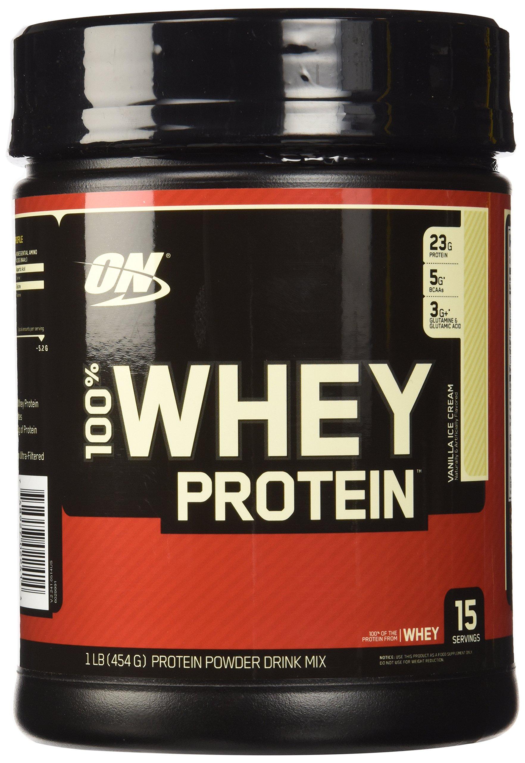 OPTIMUM NUTRITION 100% Whey Protein, Vanilla Ice Cream, 16 Ounce by Optimum Nutrition