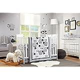 NoJo Good Night Sheep 4 Piece Standard Size Crib Comforter Set, Black & White