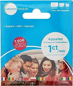 Lebara - SIM Card - French Number Incl EUR 7,50 Call Credit International Sim Card: Amazon.es: Electrónica