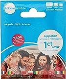 Lebara Carte Sim prépayée incluant 7,50E de crédit (5E + 2,50E offerts) – Appels, SMS et internet en France et à l'international à prix réduits.