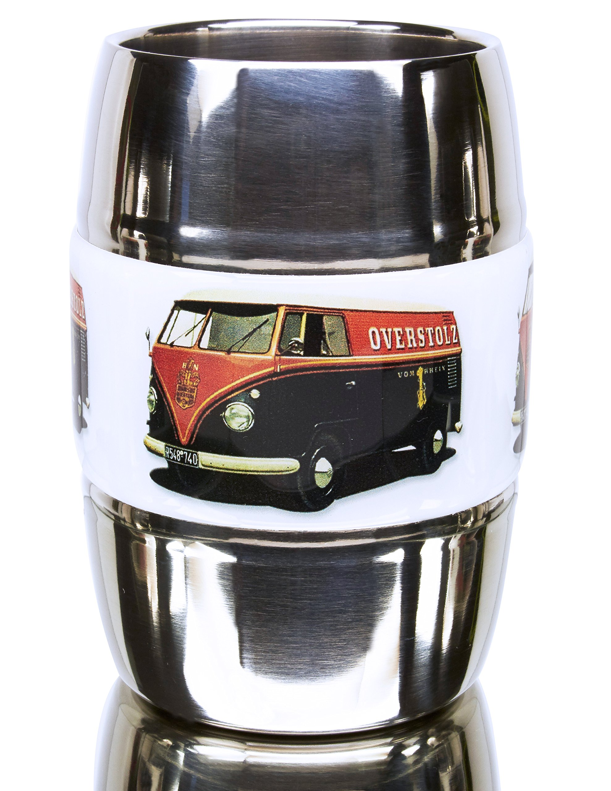 12 Ounce Camping and Travel Mug. Grip Graphic- Vintage VW Bus Orange. Double Wall Premium Stainless. No Sweat. Keeps Drinks Ice-Cold, Coffee Pipping-Hot. Fits Standard Car Holders. Easy to Clean.
