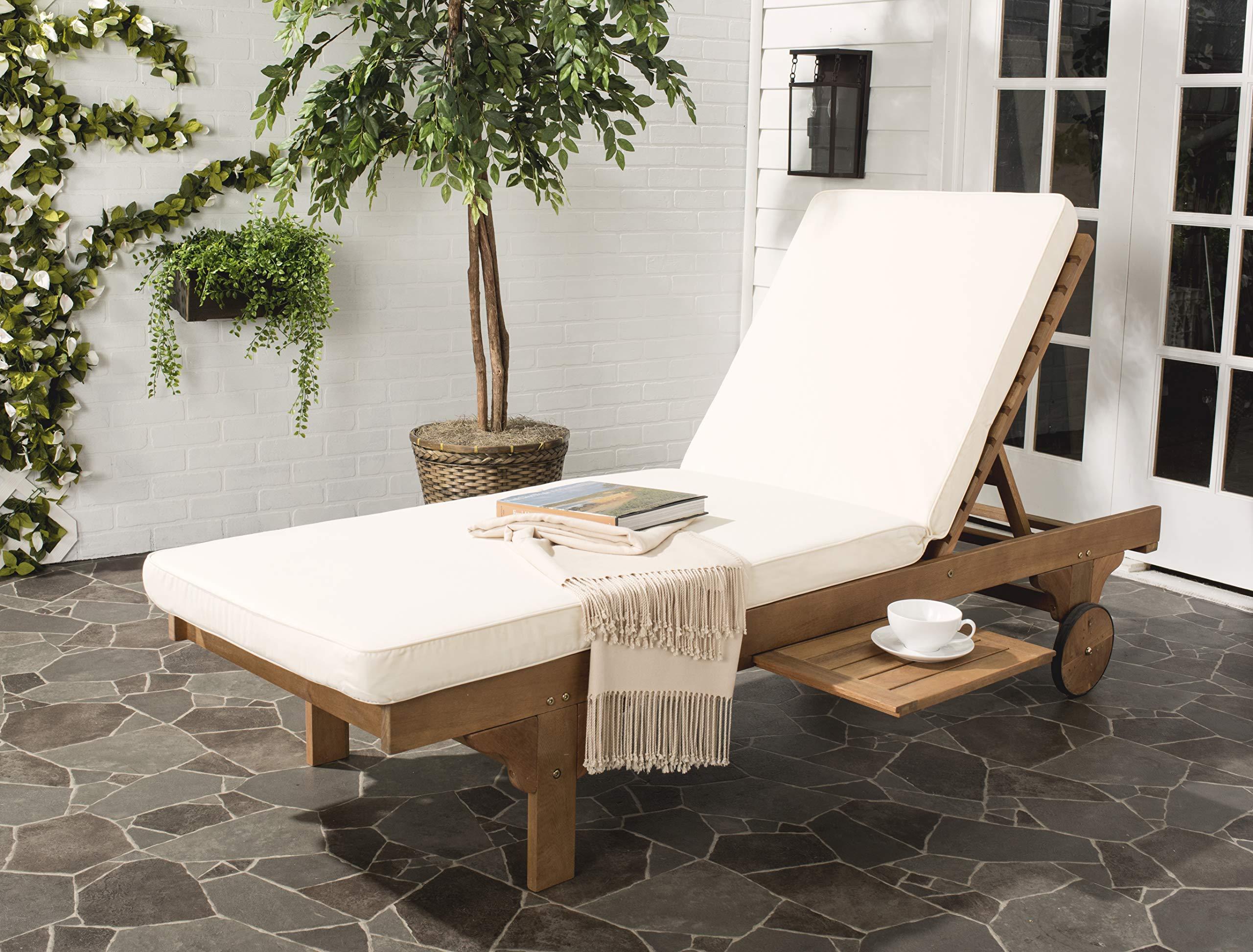 Safavieh PAT7022C Newport Chaise Lounge Chair, Natural/Beige
