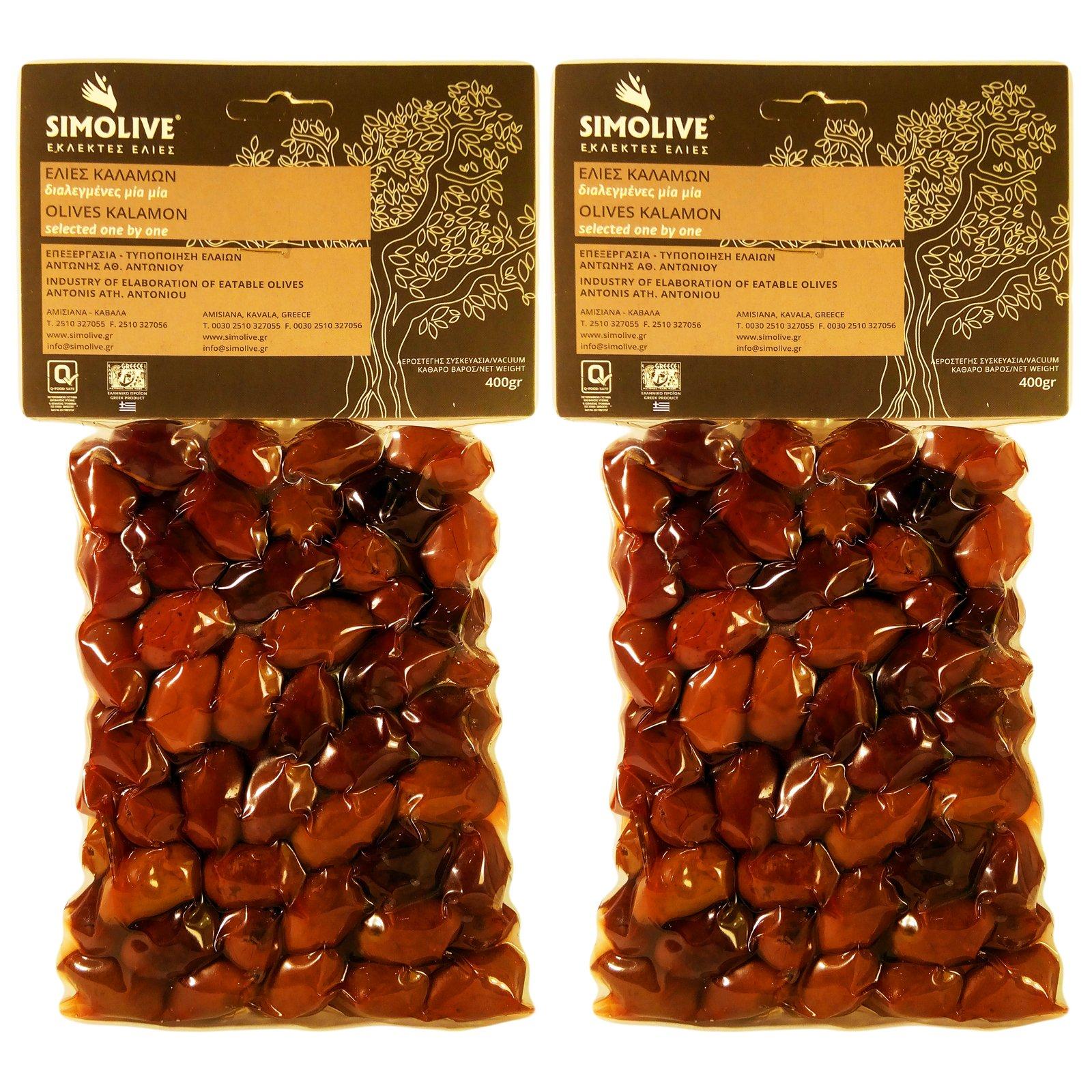 Simolive Greek Kalamata Olives 800gr Vacuum-sealed Plastic Bag