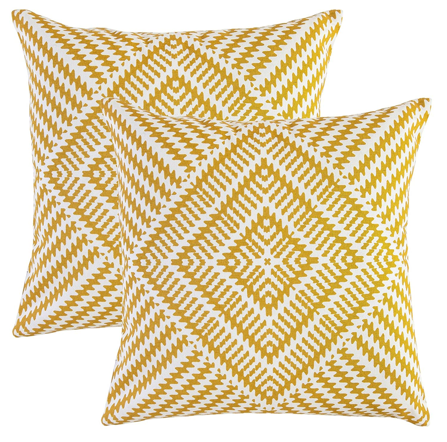 TreeWool, (Pack of 2) Kaleidoscope Accent Throw Pillow Covers in Cotton Canvas