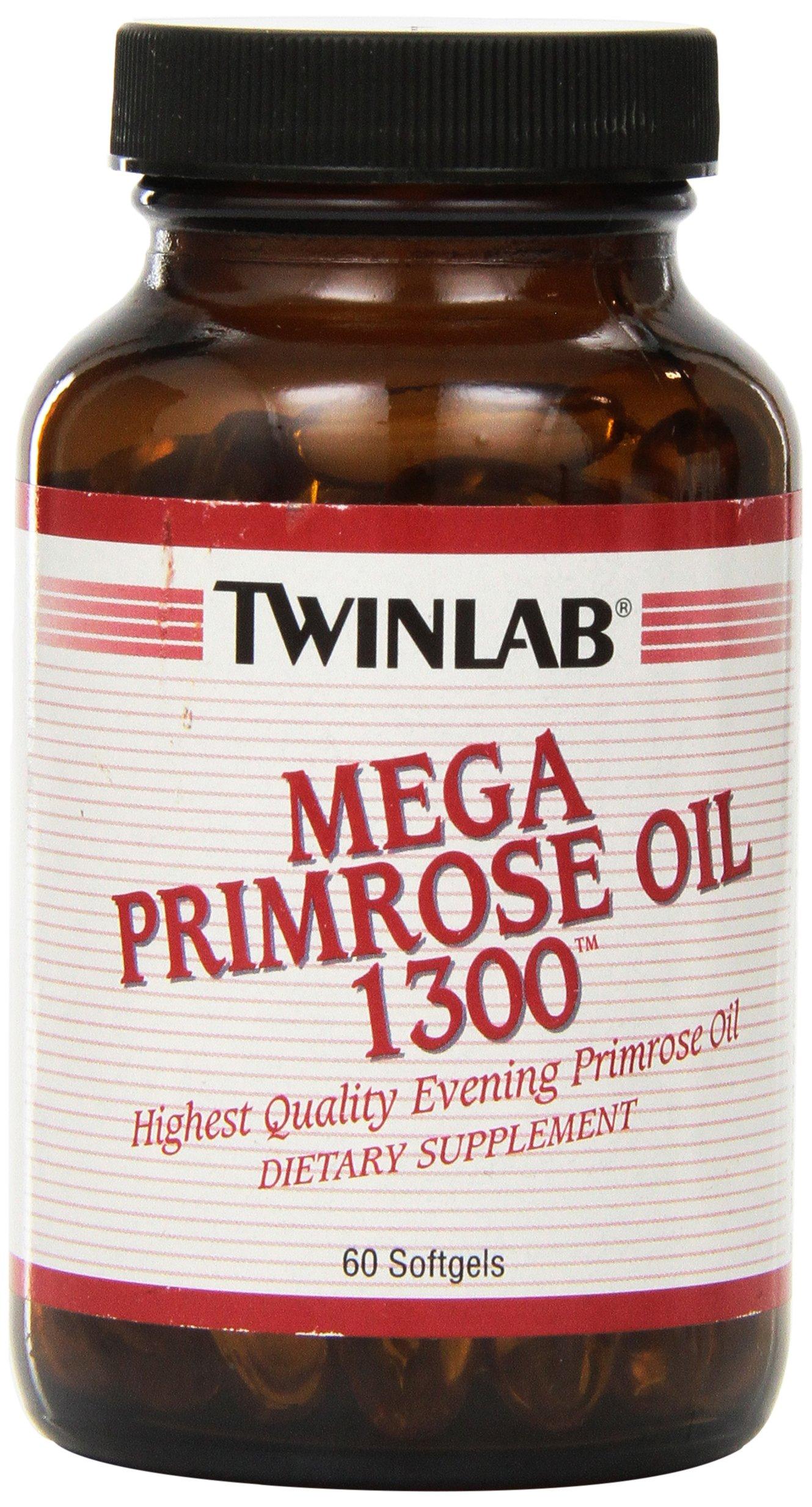 Twinlab Mega Primrose Oil 1300, 60 Softgels (Pack of 2)