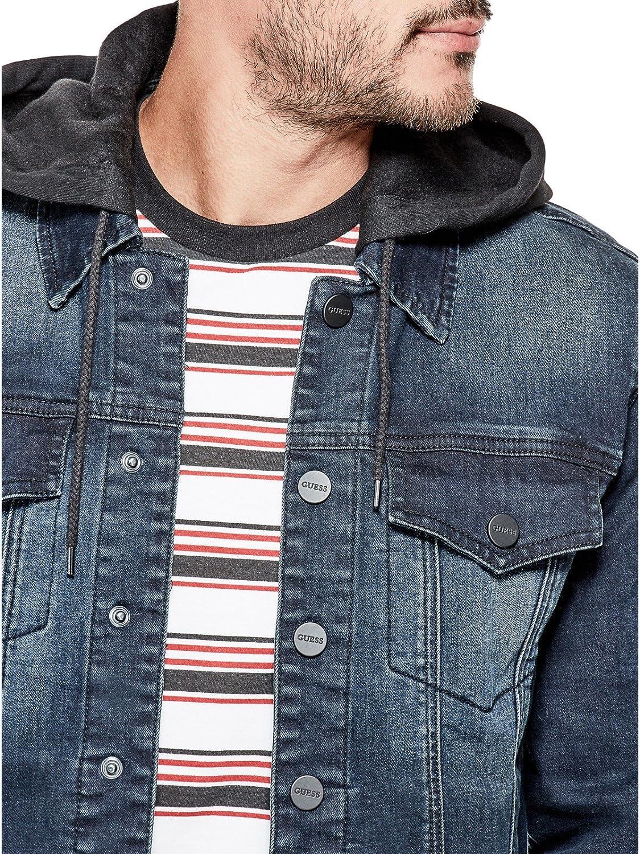 GUESS Factory Mens Vertix Hooded Super Stretch Denim Jacket