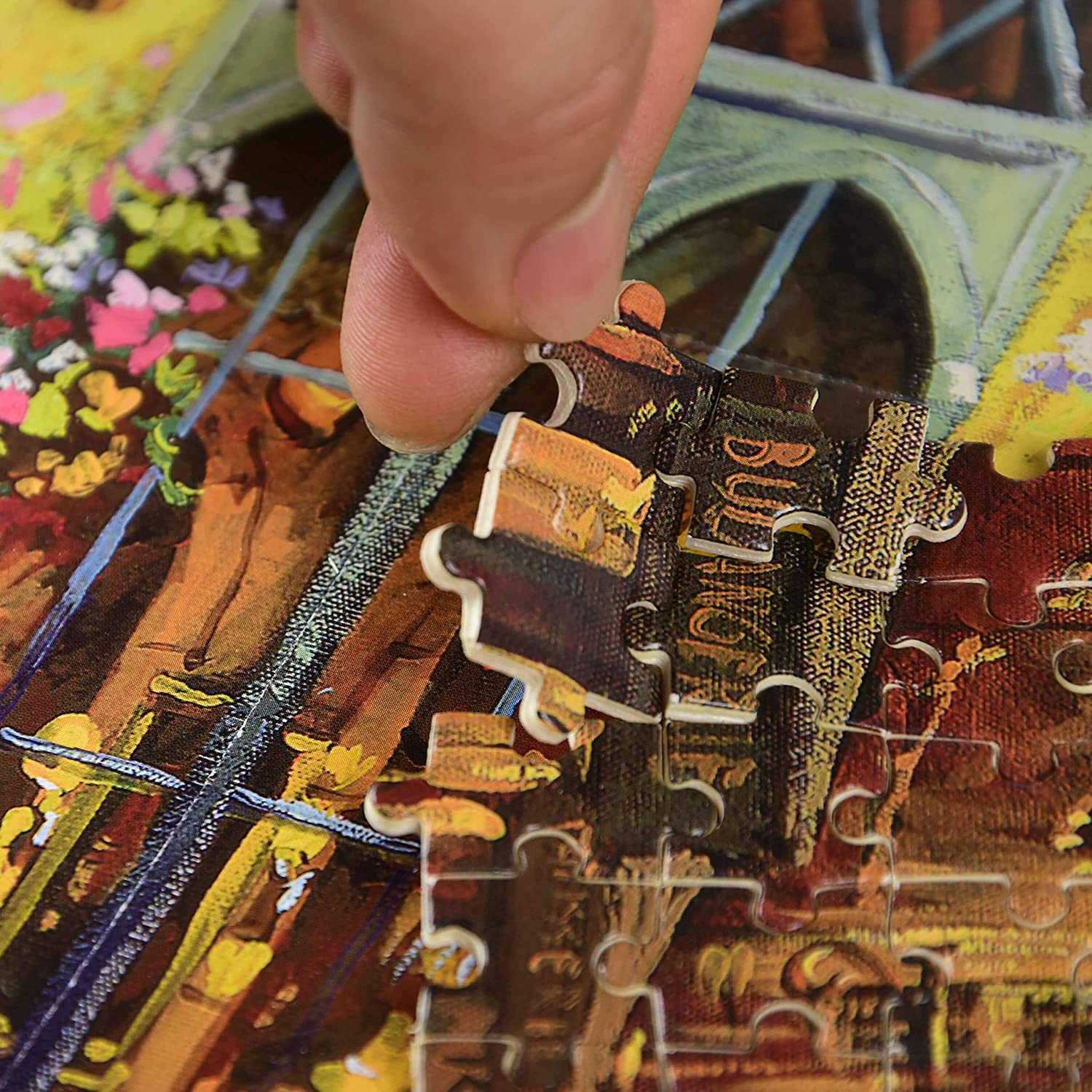 for Adults Every Piece is Unique Wooden Jigsaw Puzzle,1000 Piece Oil Painting Architecture Pieces Fit Together Perfectly
