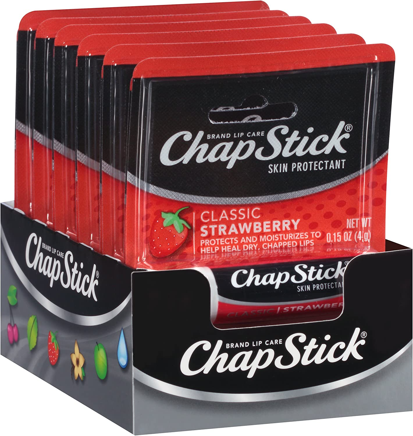 ChapStick Classic Skin Protectant (Strawberry, 0.15 Ounce Stick ,24 Count (Pack of 1)