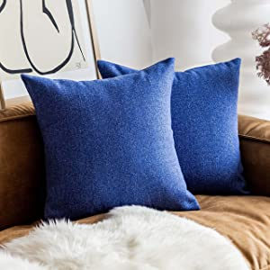 Home Brilliant Blue Throw Pillows for Couch Set of 2 Modern Decorations Linen Cushion Covers for Women Men, 18x 18 inches(45cm)