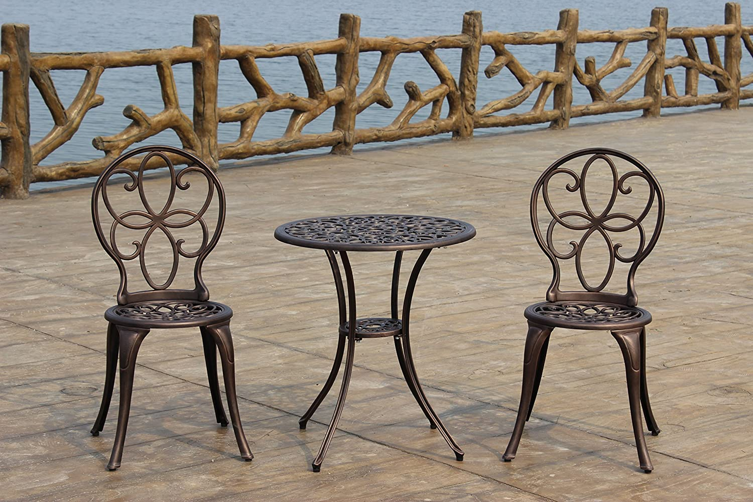 Amazon.com: Patio Sense 3 Piece Antique Bronze Cast Aluminum Bistro Set:  Garden U0026 Outdoor