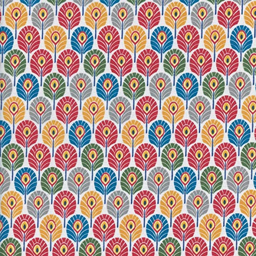 Textiles français Tela de algodón Estampada - Plumas de Pavo Real ...