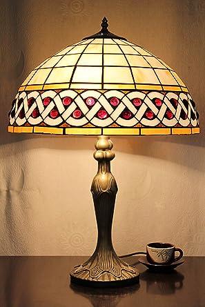 Europea Tiffany Lámpara de mesa de 16 pulgadas cuadrícula Vintage ...