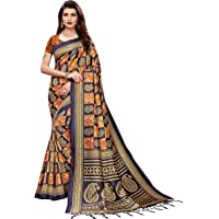 Anni Designer Women's Mysore Silk Printed Saree Border Tassels With Blouse Piece(WEDDING-ELEPHANT Colors_Free Size)