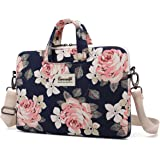 Canvaslife White Rose Patten Waterproof Laptop Shoulder Messenger Bag Case Sleeve for 14 Inch 15 Inch Laptop Case Laptop Brie
