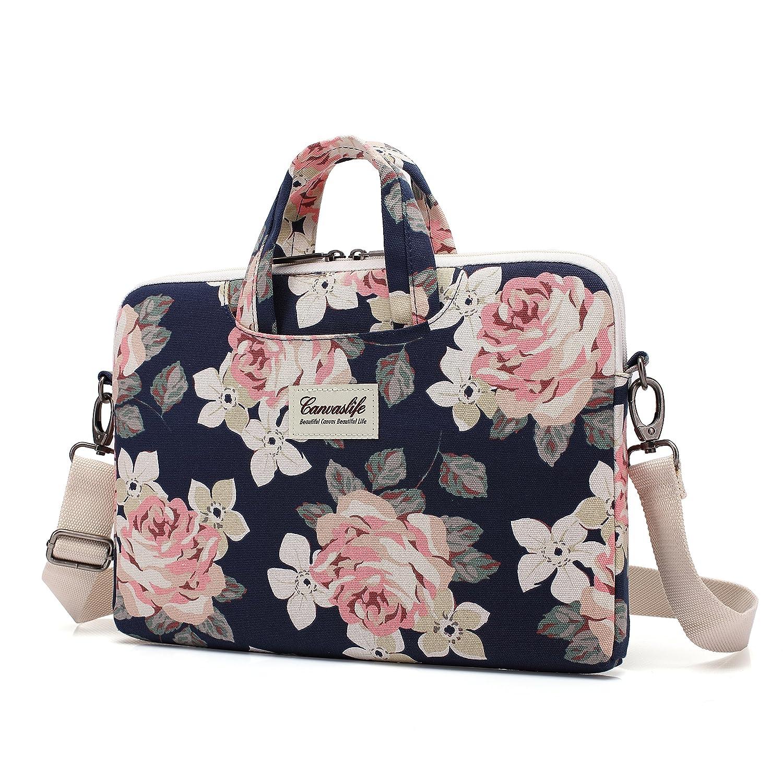 cfe55726ed7d Canvaslife White Rose Patten Waterproof Laptop Shoulder Messenger Bag Case  Sleeve for 14 Inch 15 Inch Laptop Case Laptop Briefcase 15.6 Inch