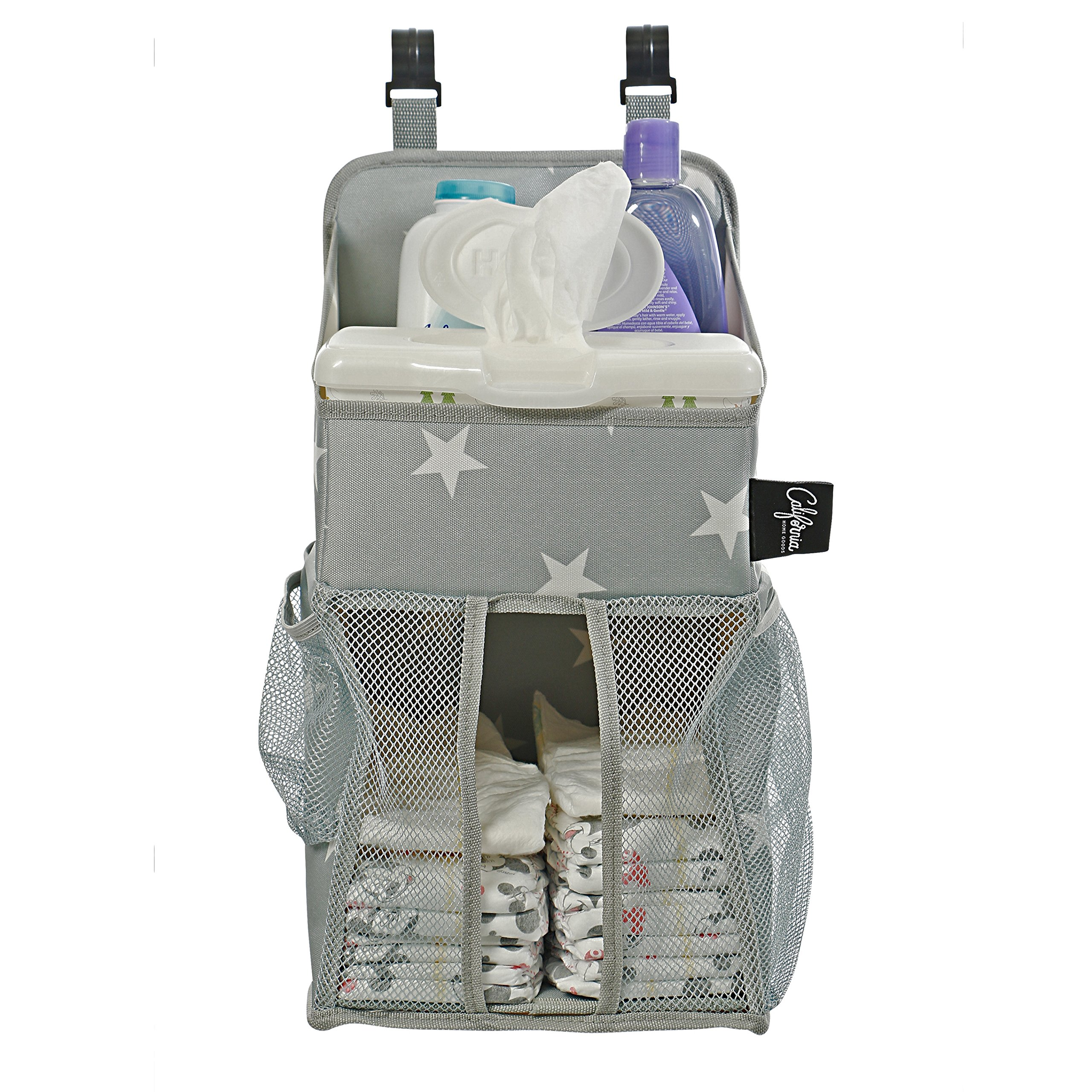 Playard Diaper Caddy and Nursery Organizer for Newborn Baby Essentials, Star Pattern, Grey & White, Baby Accessory Organizer by California Home Goods