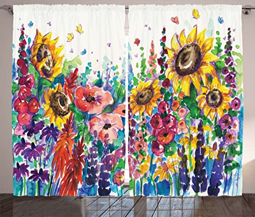Ambesonne Floral Curtains, Floral Watercolor Style Wildflowers in Country Lansdcape Colorful Flowers Art Print, Living Room Bedroom Window Drapes 2 Panel Set, 108 X 84 , Multicolor