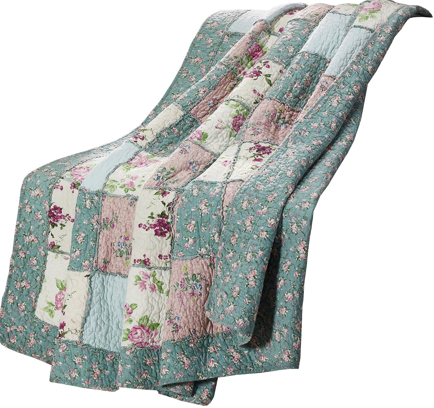 Garden Floral Vintage Washed 100%-Cotton Reversible Patchwork Throw